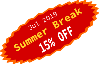 Summer break 15% OFF, please click top left icon of page to get discount